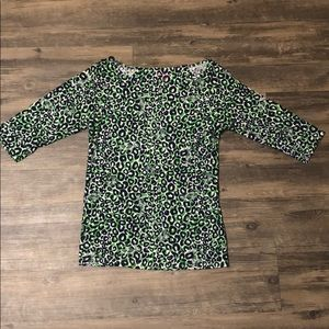 Lilly Pulitzer Macy and Green Cheetah Shirt